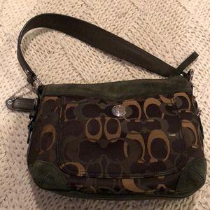 Suede dark green Coach bag